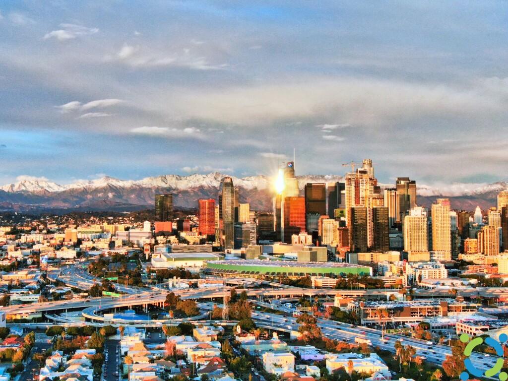 Downtown LA's snowcapped mountain backdrop